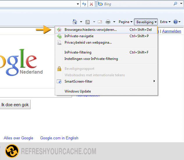 how to clear cache in internet explorer 7